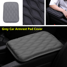 Car Armrest Storage Console Box Top Mat Liner Pad PU Leather Cover Cushion Grey