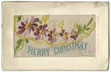 WW1 Silk Embroidered PC, Merry Christmas, Unposted c 1917, Envelope Type