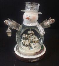 Thomas Kinkade Illuminated Crystal Snowman Christmas Village w/ Train Figurine