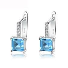 STUNNING SQUARE SHAPE SKY BLUE TOPAZ STERLING SILVER STUD EARRINGS SE9108