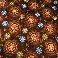 Brown, Gold & Blue Faux Floral, Quilting Cotton Fabric by Wilmington BTY