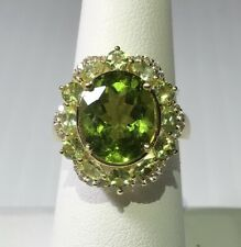 Peridot Ring HUDGE 12x10 Oval Center with .26 Zircon Accents 18GP Size 7