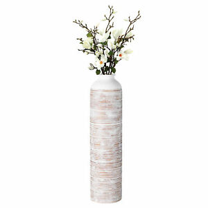 New Table Vase for Entryway Dining or Living Room, Ceramic White