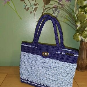 Ladies / Womens Hand Made Crochet  Hand Bag - Two shades of blue