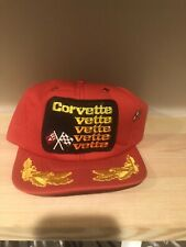 CORVETTE VETTE RED Vintage Trucker SnapBack Hat Cap PATCH WITH CAR PIN MADE USA
