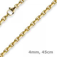4mm Kette Collier Ankerkette aus 585 Gold Gelbgold, 45cm, Unisex, Goldkette