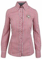 L' ARGENTINA Damen Bluse Shirt Langarm Größe 38 M 100% Baumwolle Kariert Check