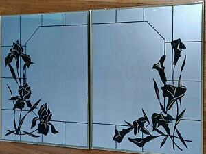 RARE Pair Of Decorative Etched Wall Mirrors Black & Gold Flower Calla & Irises