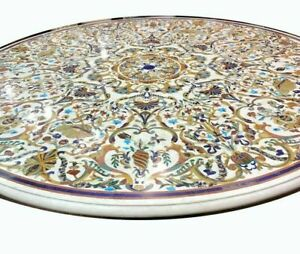 "48"" Marble Dining Table Top Inlay Rare Semi Round Center Coffee Table AR0693"