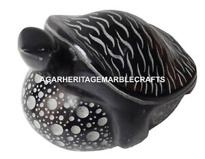 """Size 4.5""""x6"""" Black Marble Turtle Sculpture Religious Home Decor Arts Gifts H1274"""