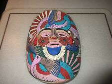"Vintage Mexican Painted Folk Art Terra Cotta Face Mask Wall Hanging  8"" X 10"" EC"