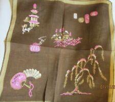Vintage Jean Chapman Brown Linen Handkerchief Oriental Fans Lanterns Garden