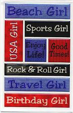 THE GIRLS 3-D Epoxy Sticker Sheet scrapbooking SPORTS BEACH TRAVEL BIRTHDAY