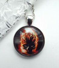 FLAMING SKULL SILVER NECKLACE 22 IN CHAIN GOTH / STEAMPUNK STYLE WITH GIFT BOX