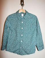 Boys TEA Cotton Teal Blue/White Printed Button Down Shirt Long Sleeve Size 5