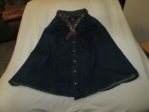 """Ladies """"Ashley Hill"""" Sz 10P(W22/L30)Blue/ButtonFront/Belted/A-Line/Pleated Skirt"""