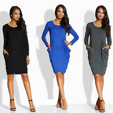 Kleid Langarm mit Taschen eleganter Wohlfühl-Style, bequem, chillig, schön