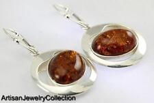 Designer NATURAL BALTIC AMBER EARRINGS 925 STERLING SILVER ARTISAN JEWELRY E001