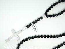 Mens Rosary Diamond Necklace Chain Black Onyx 7.5Mm With Diamond Cross