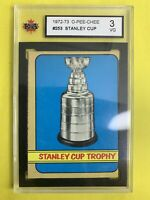 1972-73 O-Pee-Chee Stanley Cup Trophy #253 Graded KSA 3VG Stanley Cup Champions