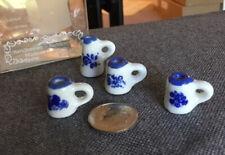 Dollhouse Miniature Vintage Reutter Porcelain Blue Pitcher And 3 Mugs 1:12
