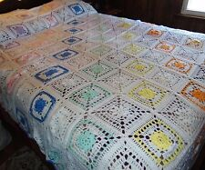 "NEW Hand Made Crocheted AFGAN Granny Square QUEEN Size 78""x108"" White Multicolor"
