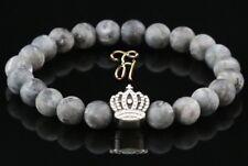 Larvikite Gris Mat 8mm Bracelet de Perles Coloris Argent Couronne