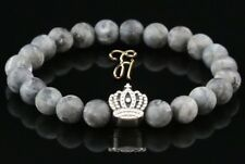 Larvikite Grey Matt 0 5/16in Bracelet Pearl Bracelet Silver Coated Crown