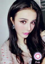 Pink Color Unisex Fashion Party Contact Lens With Case & Solution -Zero Power-
