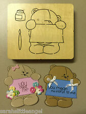 WOODEN DIE CUTTER-MESSY MARY Bear, Use in Sizzix Big Shot, VERY RARE!!!