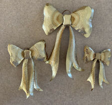 """Home Interior 3D Gold Metal """"Bows"""" Wall Accents Set of 3"""