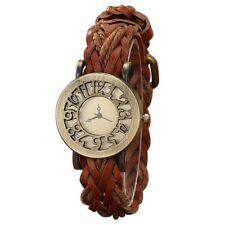 Damen Retro Stil Aushoehlung Quarz Leder Hanfseil Gewebter Guertel Armbanduhr OE