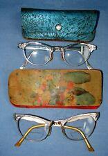 2 Pair Ladies' Art Craft Vintage Eyeglasses Cat Eye 1/10 12K Gf Aluminum In Case