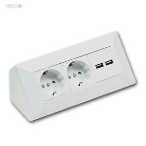 Delphi Surface Socket, 2-fach Sockets Block + 2x USB, White, 250V 16A