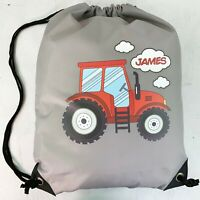 Personalised Red Tractor Drawstring Grey PE Bag Kids Swimming Gym Kit School
