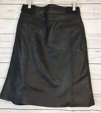 In Suede Black Soft Leather Skirt Front Pockets Lined Women's Size 4 EUC