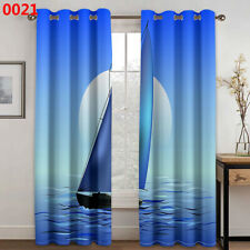 Window Curtain Sailboat Sea Printing 3D Curtains Living Room Kitchen Drapes