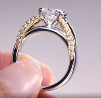 Women's Two-tone 925 Silver Ring Bridal Wedding Banquet Ring Fashion Jewelry