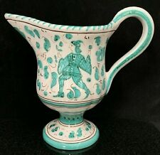 Vintage P.V. Peasant Village Pottery Italy Footed Pitcher Green White AS-IS