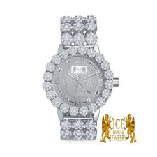 Real Diamond White Gold Custom Roman Flower Ice House Men's Luxury Watch W/Date