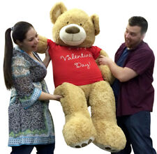 Giant 5 Foot Teddy Bear Soft Tan Lifesized, Wears T-Shirt HAPPY VALENTINES DAY