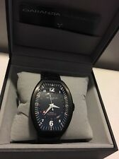 Montres De Luxe Mens GMT Estremo wht Black crock Leather Watch  NEW