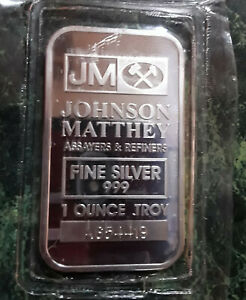 JOHNSON MATTHEY FINE SILVER .999 1 OUNCE BAR FACTORY SEALED!