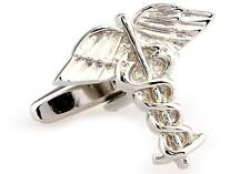 Doctor Caduceus Asclepi Wing Cufflinks Wedding Fancy Gift Box Free Ship USA