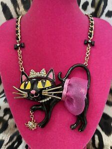 Betsey Johnson Enchanted Forest Vintage HUGE Black Cat Pink Tutu Spider Necklace
