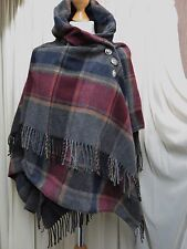 QUIRKY, TARTAN, MADE IN ITALY LAGENLOOK 80% WOOL SHAWL/SCARF/STOLE, ONE SIZE S/M