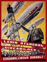 MILITARY AIRSHIP LENIN SOVIET UNION Poster Vintage Advertising Political Canvas