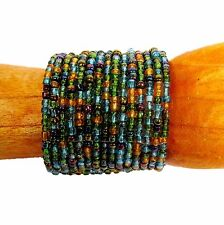 "2 1/2"" Wide Turquoise Green Multi Color Handmade Beaded Cuff Statement Bracelet"