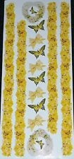 25 sheets Frances Meyer Stickers EDITH BUTTERFLY Yellow Roses 5 x 12 inches