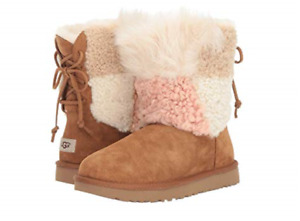 UGG Classic Short Patchwork Fluff Chestnut Boot Women's US sizes 5-10 NEW!!!